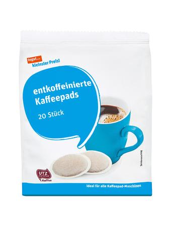 Darstellung von entkoffeinierte Kaffeepads