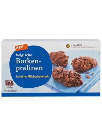 Darstellung von Belgische Borkenpralinen in feiner Milchschokolade