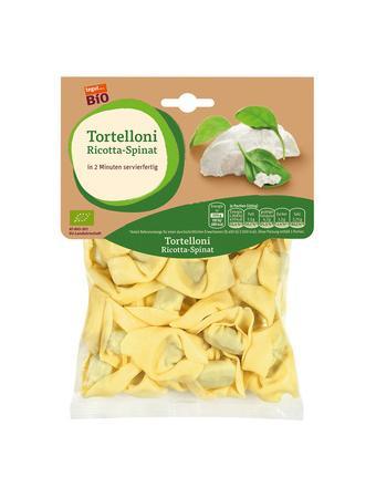 Darstellung von Bio-Tortelloni mit Ricotta-Spinat-Füllung