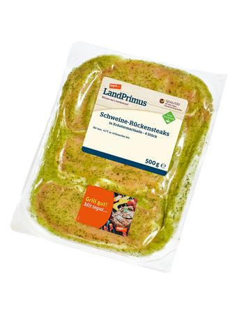 Darstellung von tegut... LandPrimus Schweine-Rückensteaks in Kräutermarinade