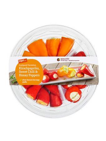 Darstellung von Antipasti-Variation Kirschpaprika, Sweet Chili & Honey Peppers