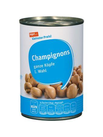 Darstellung von Champignons, ganze Köpfe, I. Wahl