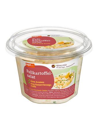 Darstellung von Pellkartoffelsalat mit Ei und Gurke