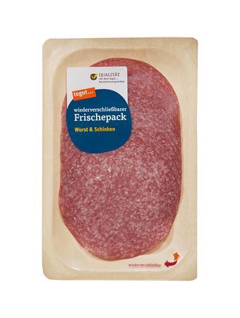 Darstellung von Frischepack Salami, geräuchert, geschnitten