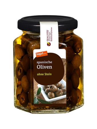 Darstellung von spanische Oliven ohne Stein