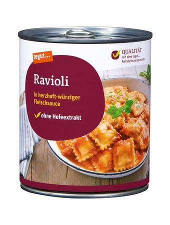 Darstellung von Ravioli in Fleischsauce