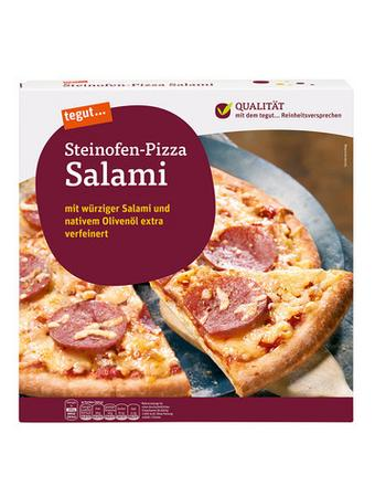 Darstellung von Steinofen-Pizza Salami