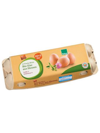 Darstellung von 12 frische Minis Bio-Eier aus Hessen