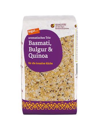 Darstellung von Basmati, Bulgur & Quinoa