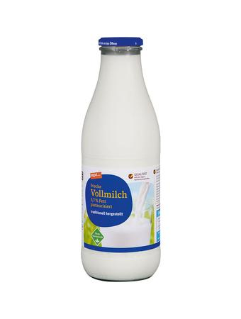 Darstellung von frische Vollmilch 3,7 % Fett pasteurisiert (Glasflasche)