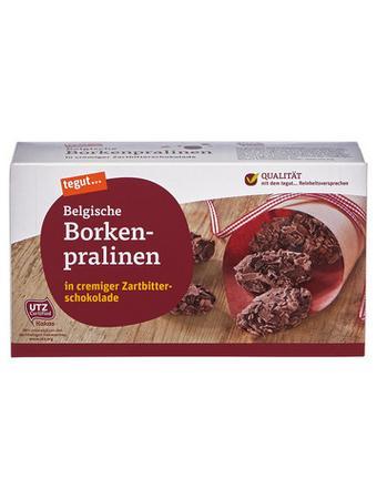 Darstellung von Belgische Borkenpralinen in cremiger Zartbitterschokolade