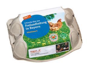 Darstellung von 6 Eier aus Freilandhaltung Bayern