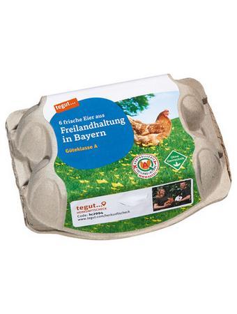 Darstellung von 6 Eier aus Freilandhaltung in Bayern