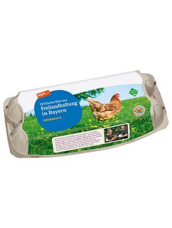 Darstellung von 10 Eier aus Freilandhaltung in Bayern