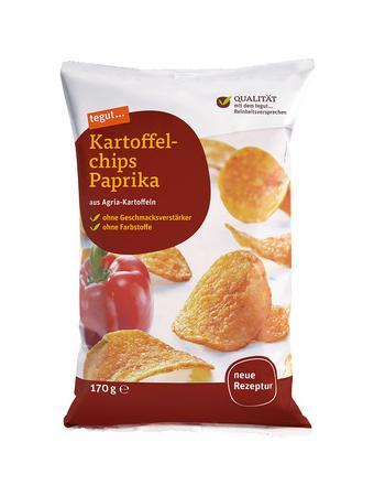 Darstellung von Kartoffelchips Paprika