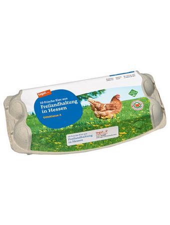 Darstellung von 10 Eier aus Freilandhaltung in Hessen
