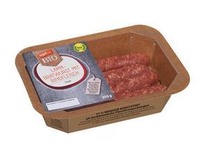 Darstellung von Lamm-Bratwurst mit Rindfleisch, frisch