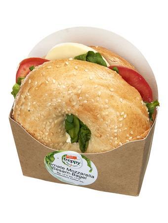 Darstellung von Tomate Mozzarella Sesam-Bagel