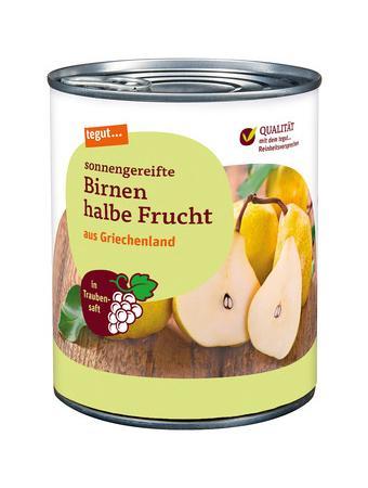 Darstellung von Birnen halbe Frucht in Traubensaft 850 ml