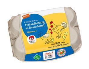 Darstellung von 6 Eier aus Freilandhaltung in Deutschland Bruderhahn