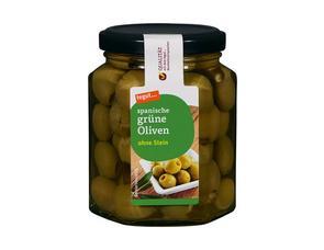 Darstellung von spanische grüne Oliven ohne Stein