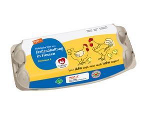 Darstellung von 10 Eier aus Freilandhaltung in Hessen Bruderhahn