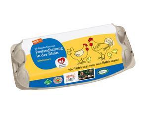 Darstellung von 10 Eier aus Freilandhaltung in der Rhön Junghahn