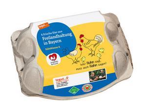 Darstellung von 6 Eier aus Freilandhaltung in Bayern Junghahn