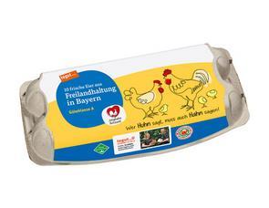 Darstellung von 10 Eier aus Freilandhaltung in Bayern Junghahn