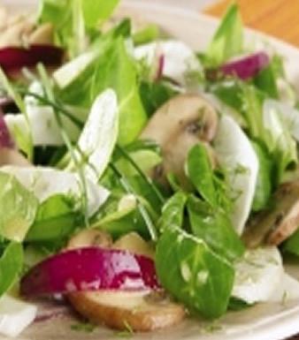 Feldsalat mit Fenchel und Champignons