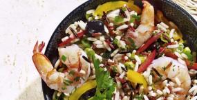 Reistrio-Salat mit Riesengarnelen