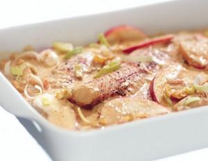 Kabeljau in Apfel-Lauch-Currysauce