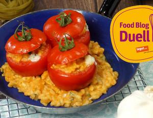Gefüllte Tomaten mit Gorgonzola-Risotto