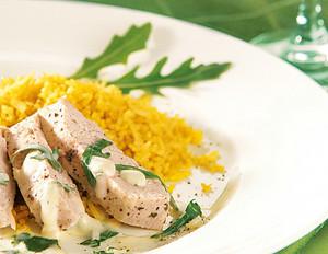 Hähnchenbrust in Rucolasauce mit Curryreis