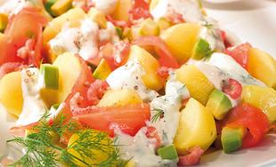 Lachs-Kartoffelsalat mit Avocado