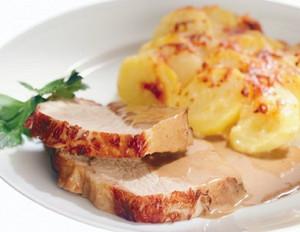 Schweinerücken mit Kartoffel-Birnen-Gratin