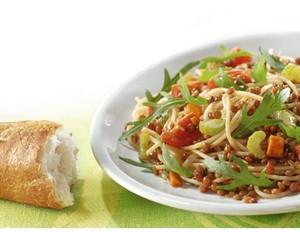 Spaghetti mit Balsamlinsen und Rucola