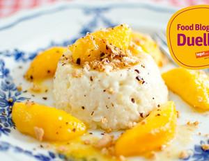 Süßes Risotto mit Mascarpone und karamellisierten Pfirsichen