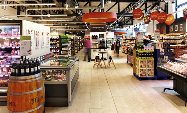 Neues Ladenkonzept des tegut Lebensmittel Supermarkt in Wiesbaden, Innenaufnahme