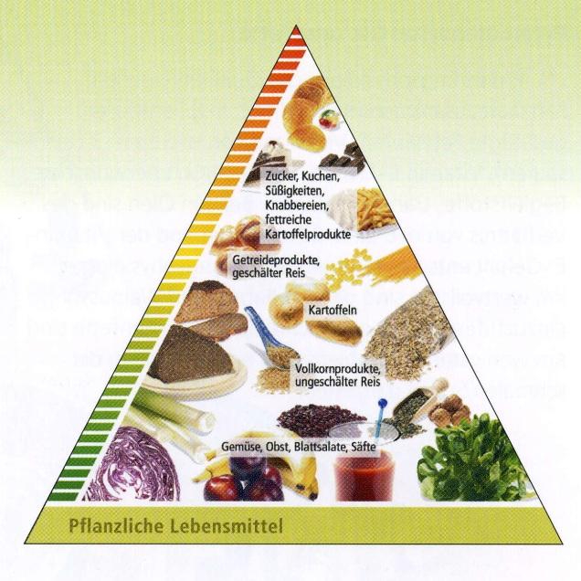 Ernährungspyramide mit pflanzlichen Lebensmitteln