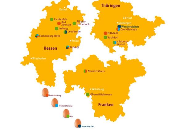 Karten Bundesländer mit Eierbetriebe von tegut...