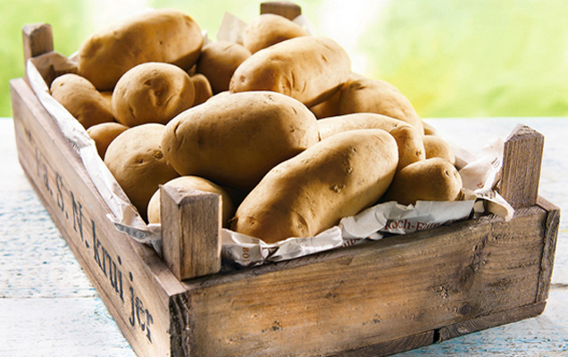 Lagerkartoffeln in Kiste