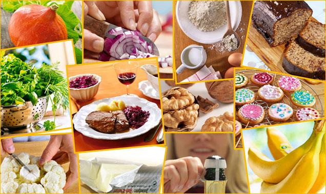verschiedene kleine Bilder: Blumenkohl, Schokokuchen, Kekse, Kürbis, Butter, Kräuter, Bananen
