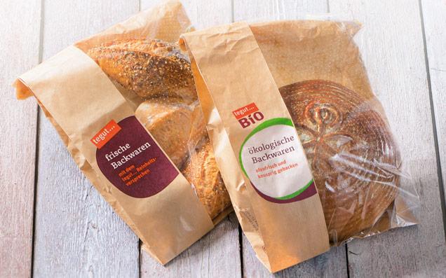 zwei nachhaltige Brottüten tegut Mehrwertmarke und Bio