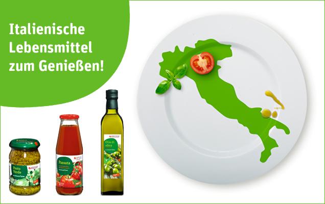 tegut... Mehrwertmarke-Produkte aus Italien neben Teller mit Stiefel