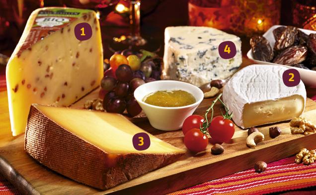 verschiedene Käsesorten auf einem Brett angerichtet