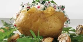 Ricottacreme zu Folienkartoffel mit Champignons und Kürbiskernen