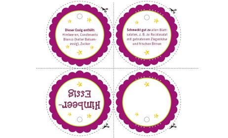Geschenkanhänger Etikett Himbeer Essig